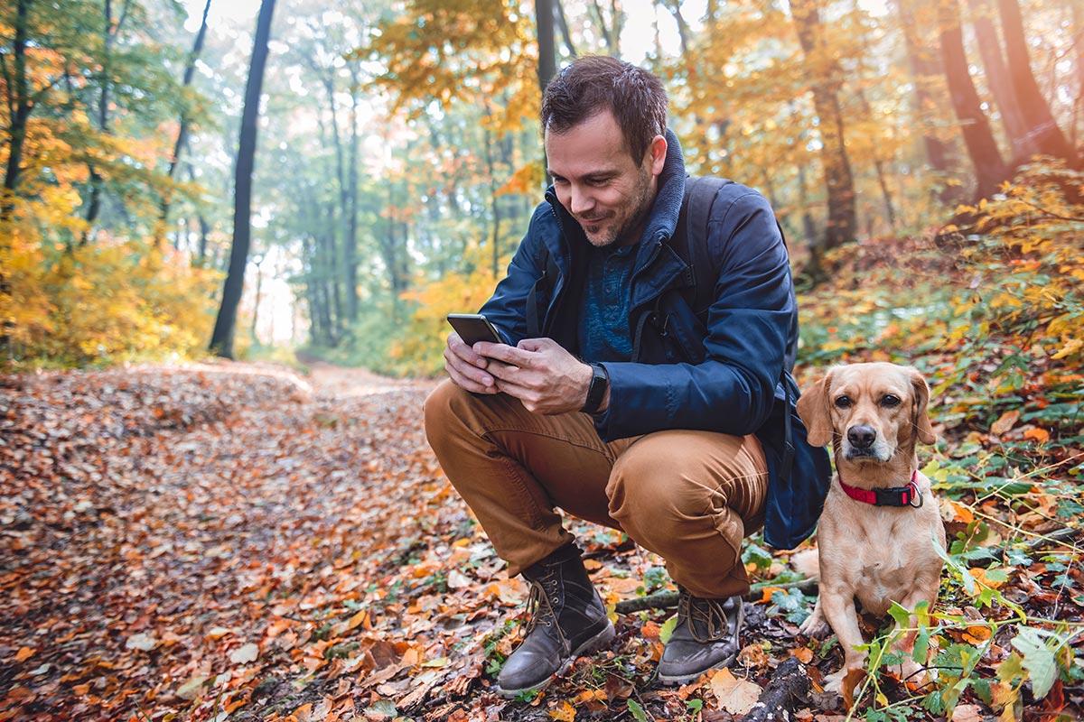 Photo d'un homme sur son smartphone, dans la nature avec son chien
